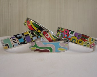 New Old Stock Colorful Enamel Metal Bangle Bracelet 2 1/2 inches