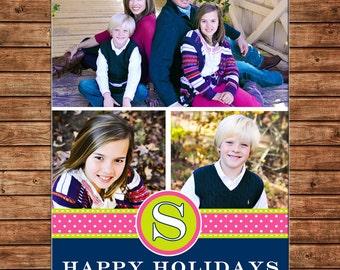 Photo Picture Christmas Holiday Card Monogram Polka Dot Ribbon Banner - Digital File