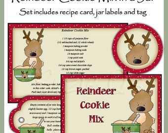 Make your own Reindeer Cookie Mix in a Jar - Label, Tag and Recipe - Digital Printable Kit - Great Gift Idea - Immediate Download