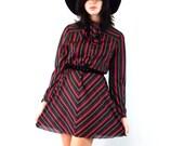 Vintage 70s Secretary Striped Dress