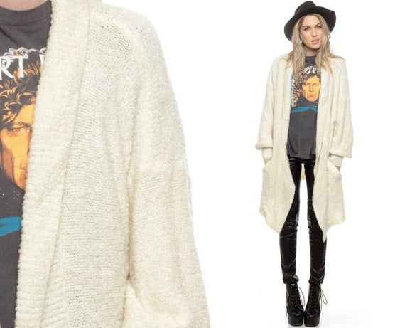 Wrap Sweater Long Cardigan Cream Boho Oversize Chunky Drape