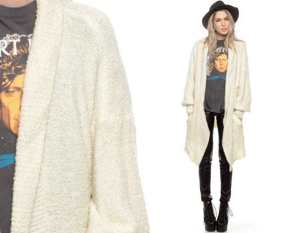 Wrap Sweater Long Cardigan Cream Boho Oversize Chunky Drape