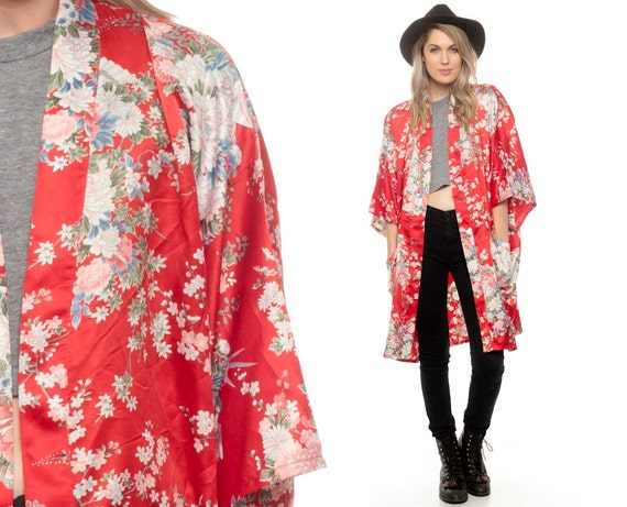 Floral Kimono Robe Jacket 90s Red Japanese Print Midi 1990s