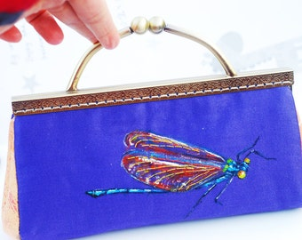 Hand painted and embroidery dragonfly clutch