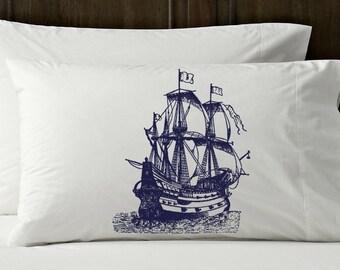 navy Nautical Tall Clipper Ship Sail Boat Pillowcases ocean beach east coast pirate sailing sailor sailboat flags vessel pillow cover NEW