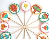 Gold n' Glittery Pastel Hot Air Balloons - Cupcake Toppers