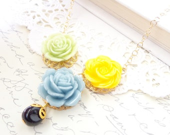 50% OFF - Flower Necklace - Mixed Flower Charm Necklace - Cabbage Rose - Whimsy - Whimsical - Bridal - Blue Green Yellow