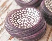Dusky Eggplant Purple - Rustic Speckle Bead hand painted boho chic dot bead (ready to ship)