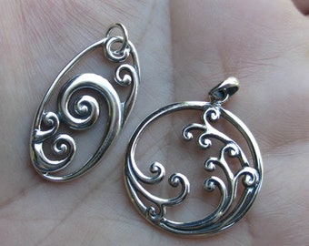 Large Sterling Silver Oval or Round Pendant With Wave Design(one)You choose which one