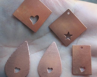 Copper Teardrop, Square, or rectangle Blanks