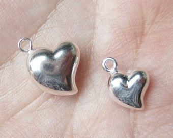 Sterling Silver Puffed Hearts (hangs off center)You choose which size and quantity