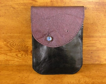 "Black and Purple Leather Tablet Sleeve - 6"" x 8"", Purple Pebbled and  Black cowhide leather with a night sky glass button, handmade in USA"