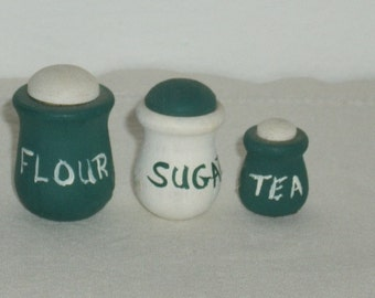 Vintage Miniature Wooden Cannister Set, Flour, Sugar, Tea, Green and White, Dollhouse, Painted Wood