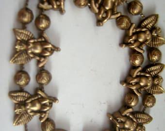 Vintage Angel Cherub Bracelet Brass Slider