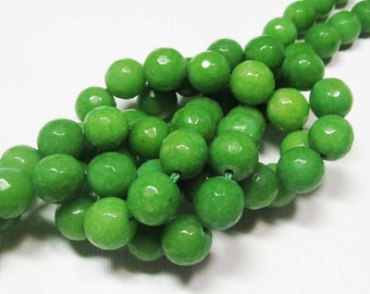LOOSE Gemstone Beads - Jade Beads - Faceted 10mm Rounds - Bright  Lime Green (5 beads) - gem1011