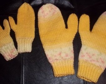 Mother and Daughter Mittens in Yellow Fair Isle Effect Yarn