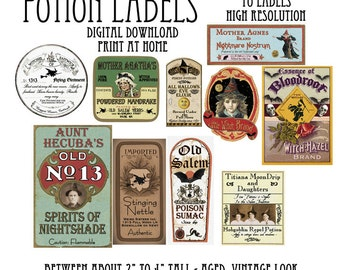 Vintage Halloween Witch Potion Bottle Labels Digital Download Printable Apothecary Clip Art Scrapbook Images