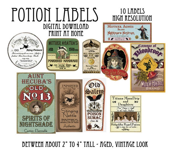 Vintage Halloween Witch Potion Bottle Labels