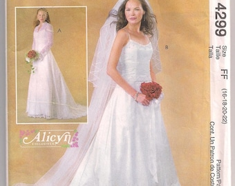 Wedding Gown McCalls 4299, Wedding Dress, Bridal Dress, Gown with Train, Dress and Jacket, Lace Jacket, Size 16- 22, Bust 38- 44
