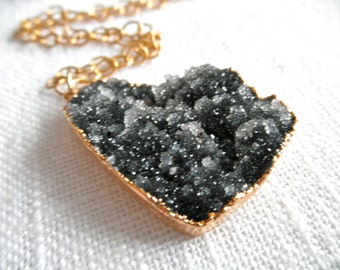 Large Black Druzy necklace - gold necklace - black necklace - black drusy - D R U Z Y 227