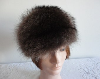 Vintage Black & Grey Raccoon Fur Women 60s Small 21 1/2 inches Boutique Kates Canada