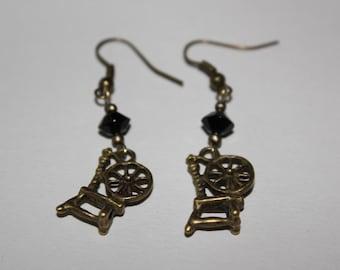 Spinning wheel earrings rustic wheel charms