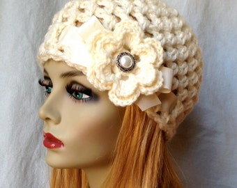 SALE Crochet Womens Hat, Beanie, Cream, Very Soft Chunky, Bridal Hat, Wedding Flower, Ribbon, Cancer, Warm, Teens, Winter, Ski Hat, JE505B2