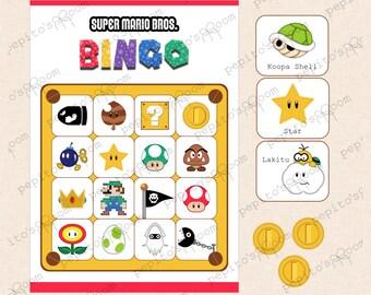 Print-INK Super Mario Bros. Bingo (10 Cards) - DIY Digital Printable PDF