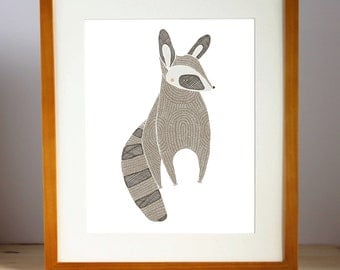 Raccoon Print, Raccoon Nursery Art, Raccoon Children's Decor, Woodland Decor, Raccoon Illustration, Raccoon Artwork