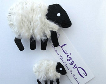 LizzyC Big Sheep Brooch -'Snowy'