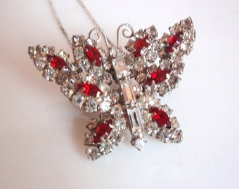 1950's Vintage Butterfly Brooch / Pendant, Silvertone  Diamente & Ruby Colored Rhinestones