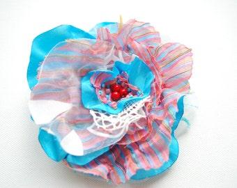 SALE, cij, Exotic Orchid Aqua Blue Red Bridal Hair Clip, Hair Weddings Accessories, Something Blue, Beach Hawaiian Weddings Hair Clip Brooch