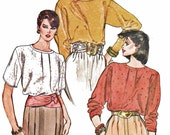 Vintage Vogue 8609 Misses' Pullover BLOUSE Loose-Fitting Above Elbow or Full Length Sleeves (14-18) 1980s Very Easy Vogue Sewing Pattern