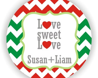 Love Sweet Love - Christmas Wedding Labels - Personalized Labels - 100 labels - 2inch circle - Happy Holidays Labels - Christmas Gift Labels