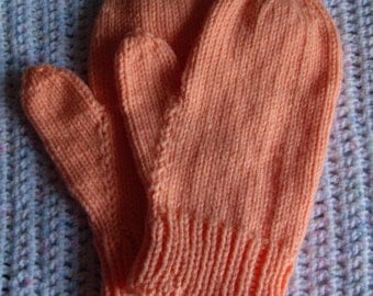 Mittens for Teens, or Ladies done in Peach