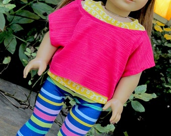 18 Inch Doll Clothes Trendy Off the Shoulder Tee, Tank and Bright Striped Leggings