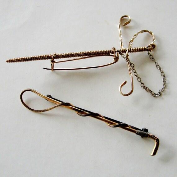 Vintage Lapel Pin Tie Tack Mens Accessory Sword Wire Wrap