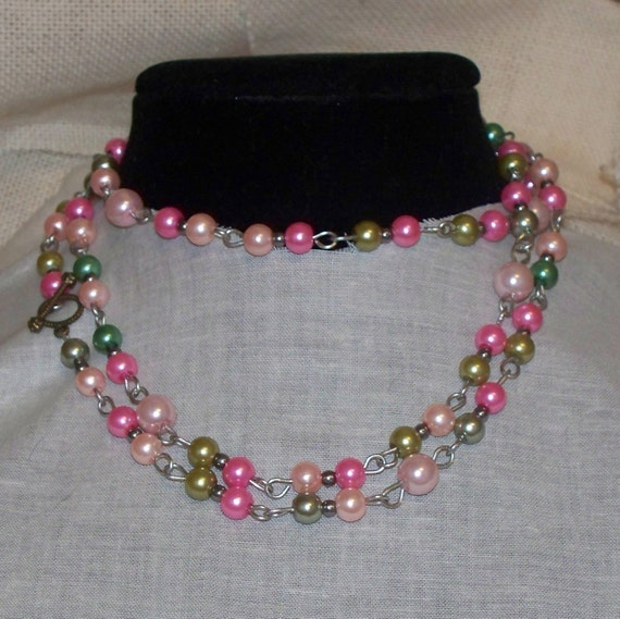 Pearl Necklace Styles: Pearl Necklace Flapper Style Long Necklace Glass Pearls