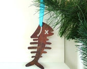 Fishbone Ornament by WATTO Distinctive Metal Wear / Gift for Fisherman/ Gift for Him/ Rustic/ Rusty/ Fish/ Fisherman/ Fish Lovers Gift