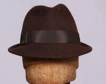 Sam,  Fur Felt Fedora mens hand made hat,  color brown