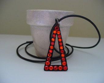 Vintage Triangle Rhinestone Necklace Orange Red 1960s Fashion