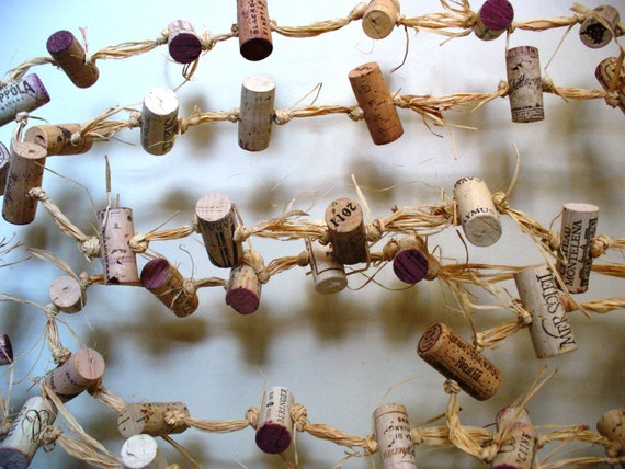 Cork Garland Rustic Wedding Backdrop Wine Winery Eco Friendly Decor