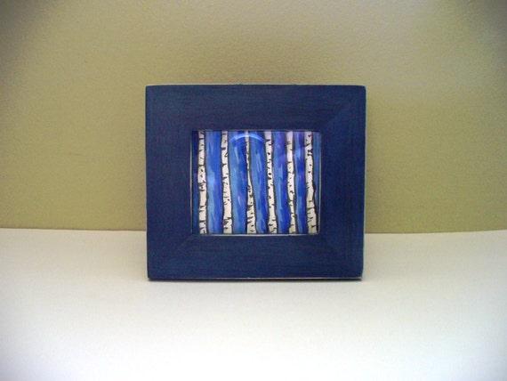 Framed Aspen Art Mini Painting White Birch Bark  Navy Blue Frame