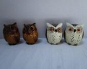 Choice Vintage Salt and Pepper Shakers, Owls, Set, Woodland Earth Tones, Night Owl, Figural Bird Shaped, Japan, Whoooo Needs Seasoning?
