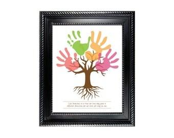 Tree Child's Handprint Art Poster for kids art project - Digital - Instant download