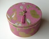 "Custom Decorative Hat Box in Goldleaf and Artisan Decorative Paper 14"" in diameter"