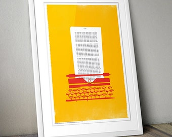 The Shining Typewriter Retro Print A3 (Yellow/Red)