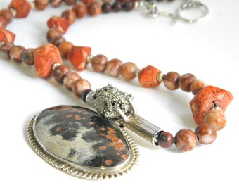 Ocean jasper necklace, statement necklace, 925 silver necklace,beaded coral necklace, natural gemstone stone, OOAK artisan fashion necklace