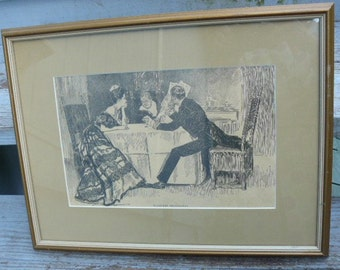 Antique 1890's Charles Dana GIBSON PRINT Framed Charming Art Nouveau Picture