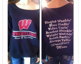 Wrestling shirt, wrestling mom, wrestler, custom bling made with your team name